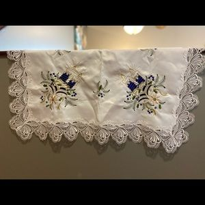 Linen Embroidery, Tablecloth Cover, White